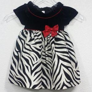 Bonnie Baby 18 Months Zebra Dress Black White Red